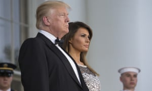 Donald and Melania Trump, before a state dinner with the French president, Emmanuel Macron, and first lady, Brigitte Macron, at the White House.