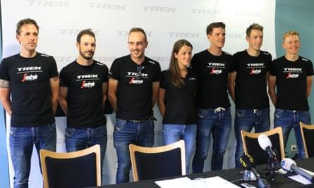 Lizzie Deignan appears alongside Trek-Segafredo's Tour de France squad during a press conference in Aix-les-Bains.