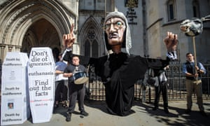 Anti-euthanasia campaigners outside the Royal Courts of Justice in London