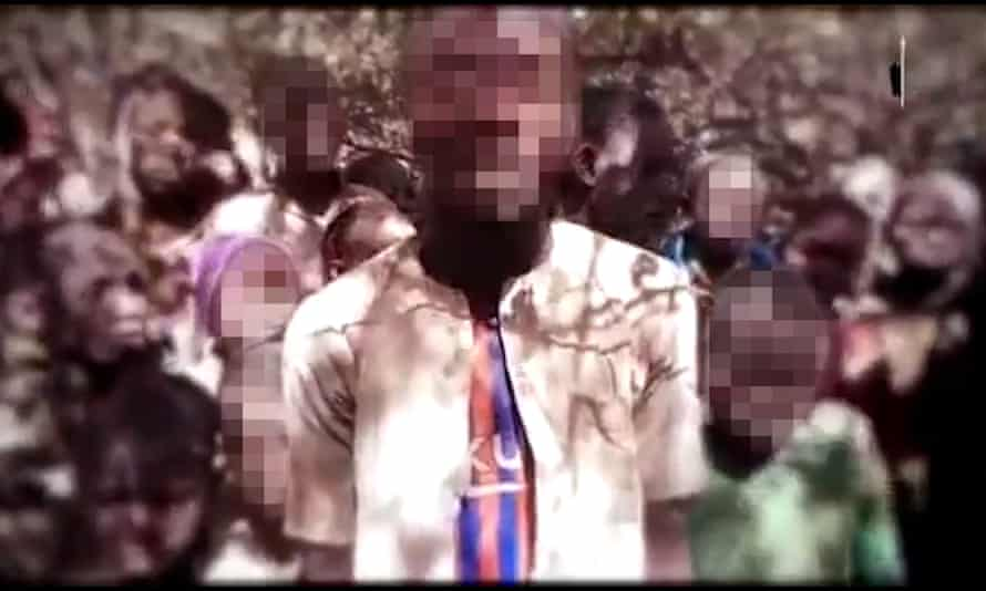 A screengrab of unverified footage purporting to show kidnapped schoolchildren in north-west Nigeria.