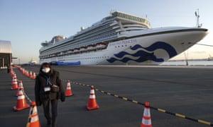 The quarantined cruise ship Diamond Princess at Yokohama port, Japan, on 10 February.