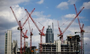 Construction cranes at Embassy Gardens in Battersea, south-west London