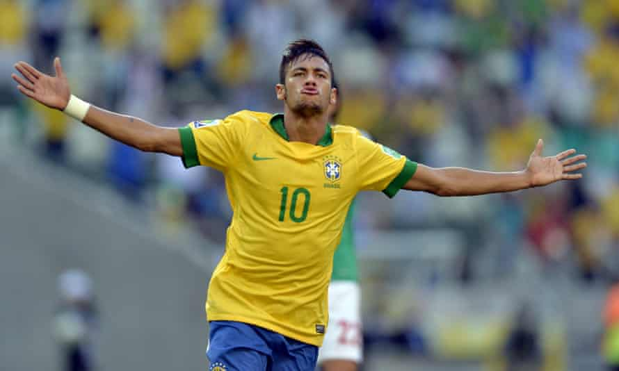 Neymar celebrates after scoring for Brazil against Mexico at the 2013 Confederations Cup.