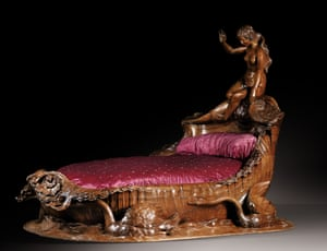 A naked nymph perches on a mahogany bed commissioned by Esther Thérèse Lachmann, a 19th-century courtesan.