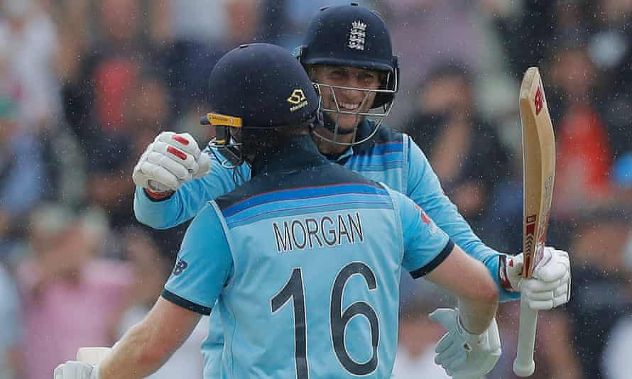 Joe Root and Eoin Morgan celebrate England's victory over Australia to reach the Cricket World Cup final.