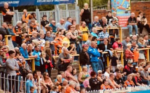 Some of the record crowd of 1,492 fans who watched the Challenge Cup quarter-final game against Bradford Bulls.