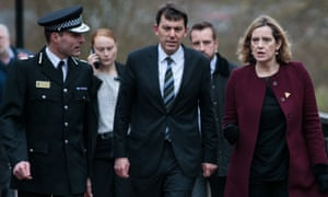 John Glen (centre) in Salisbury with then home secretary Amber Rudd and Kier Pritchard, Wiltshire police chief constable.