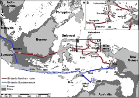 The two main possible routes used by the first humans to reach Australia were identified by Joseph Birdsell in 1977.