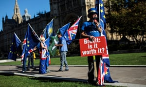 Anti-Brexit demonstrators near the Houses of Parliament.