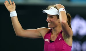 Johanna Konta celebrates after beating Ekaterina Makarova.