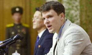 Otto Warmbier at a news conference in Pyongyang, North Korea in a photo released on 29 February 2016.