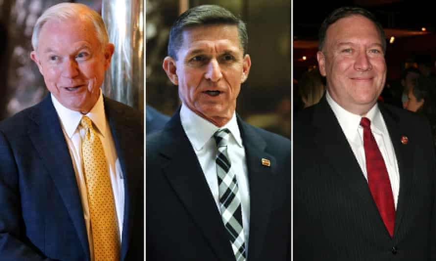 Jeff Sessions, Michael Flynn and Mike Pompeo