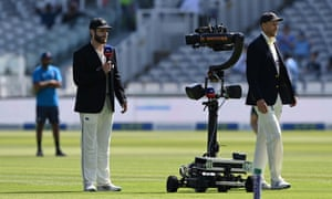 New Zealand captain Kane Williamson speaks to the Sky Robot at the toss.
