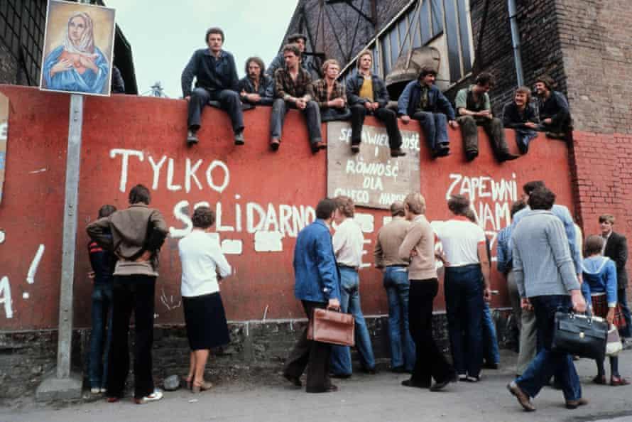 Strikers at Gdańsk shipyard in 1980.