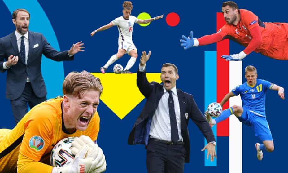 England's Gareth Southgate, goalkeeper Jordan Pickford, midfielder Kalvin Phillips, Ukraine manager Andriy Shevchenko, goalkeeper Georgiy Bushchan and midfielder Oleksandr Zinchenko.