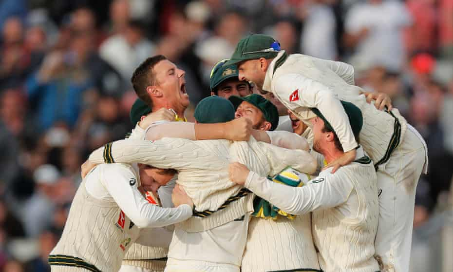 The Australia celebrations begin after the third umpire confirmed that Josh Hazlewood had trapped Craig Overton lbw to end England's resistance and retain the Ashes.