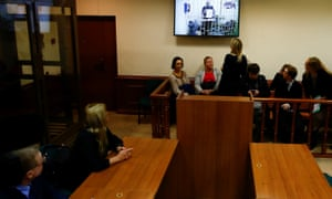 Paul Whelan appearing at the Moscow court hearing via a video link from Lefortovo prison.