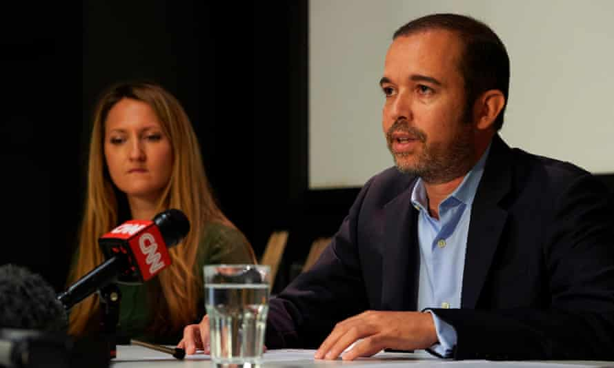 Antonio Mugica, Smartmatic's chief executive, speaks during a press briefing in central London.