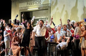 Bryan Hymel, centre, and cast in Cavalleria rusticana at the Royal Opera House.