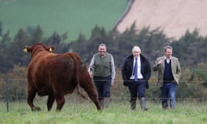 Boris Johnson (centre) with farmer Peter Watson (left) and Scottish secretary Alister Jack on a visit to Darnford Farm in Banchory near Aberdeen