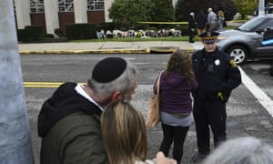 A memorial outside the Tree of Life synagogue after a shooting there left 11 people dead.