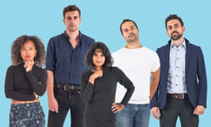 'The emerging stars of a newly empowered radical antiestablishment': (l-r) Amina Gichinga, Joe Todd, Natasha Josette, Aaron Bastani and Yannis Gourtsoyannis.