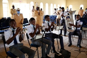 Harare, Zimbabwe: members of the Salvation Army Mabvuku Corps take part in the first socially distanced church service in 2021