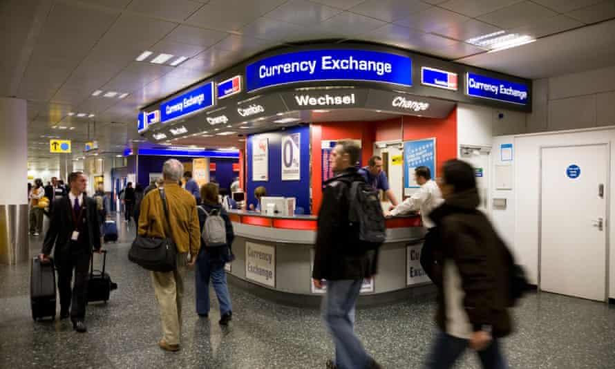 A Travelex Bureau de Change office at Gatwick airport.