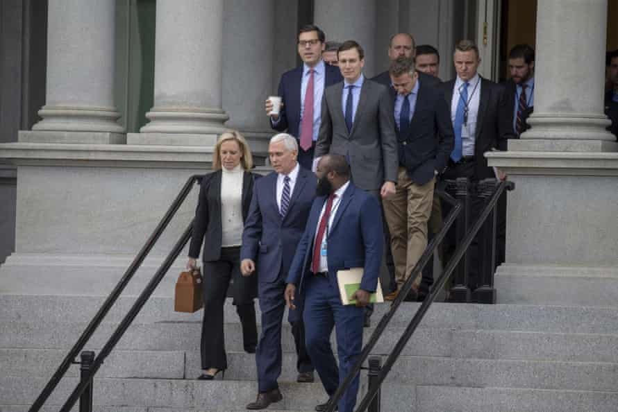 The Republican negotiators leave the Eisenhower Executive Office Building.