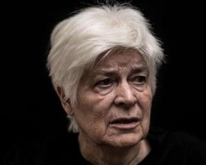 Head shot of Kathleen Bishop, 81, who has dementia, against a black background