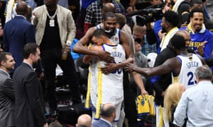 Stephen Curry and Kevin Durant as the Warriors stroll to another title