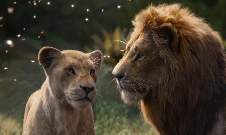 Beyoncé Knowles-Carter as Nala and Donald Glover as Simba in The Lion King.