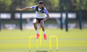 Riyad Mahrez trains at Manchester City. 'Step by step we are getting fitter,' he said.