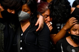 Relatives attend Juan Luis Diaz Galicia's funeral in Mexico City.