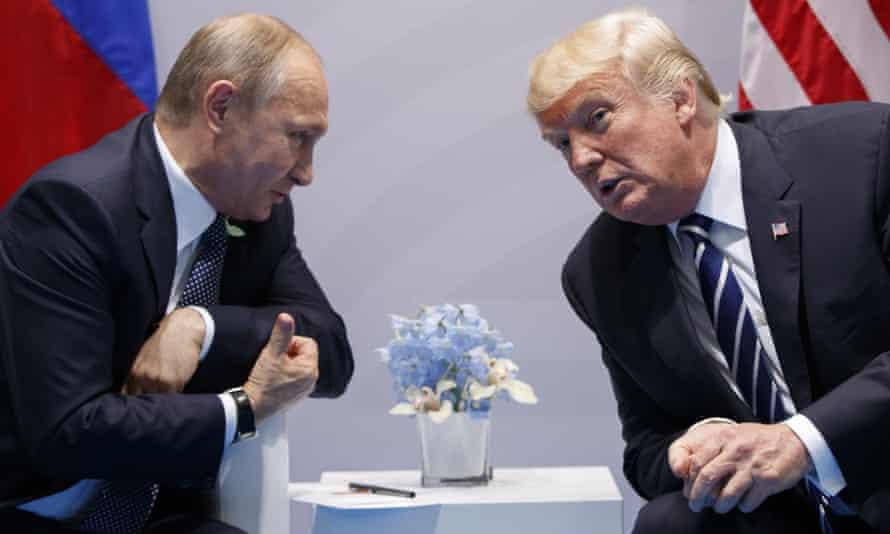 Vladimir Putin and Donald Trump at the G-20 summit in Hamburg in 2017
