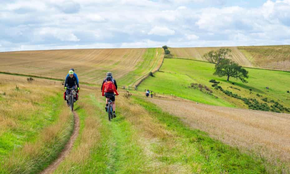 Cycling along South Downs Way.