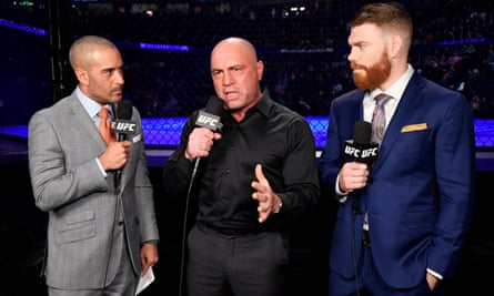 Joe Rogan, center, at work as a UFC commentator in Las Vegas in January.