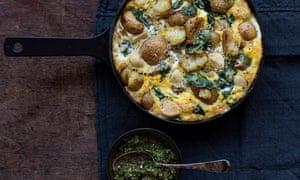 Mellow confit garlic frittata with gremolata.