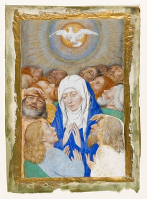 Pentecost, the Virgin Surrounded by the Apostles, circle of Simon MarmionMiniature, Pentecost showing the Virgin surrounded by the twelve apostles. Hainaut, Valenciennes, circa 1480-1490. Marmion, Simon (follower or assistant of). Illuminated Manuscript. Marmion, Simon: follower or assistant of. Miniature in liquid gold frame (modern addition): Pentecost showing the Virgin surrounded by the twelve apostles. Parchment, 140 x 100 mm, framed miniature 118 x 78 mm, reverse blank, circa 1480-1490. Hainaut, Valenciennes.