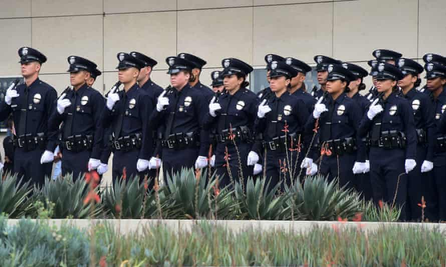 Los Angeles police recruits attend a graduation ceremony.
