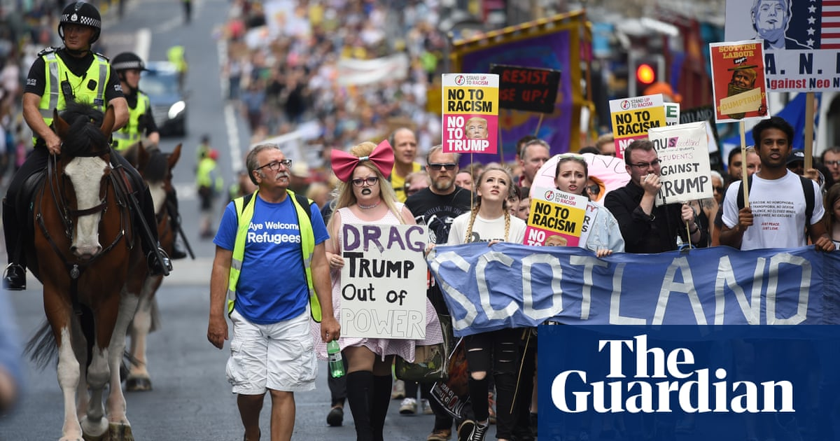 d03a5bc343 Thousands protest across Scotland as Trump plays golf | US news | The  Guardian