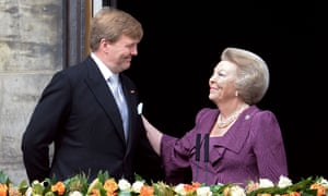 The Netherlands' newly crowned King Willem-Alexander with his mother Beatrix after her abdication.