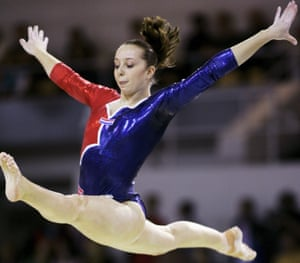 Van de Leur performs on the beam in 2006, two years before her retirement.