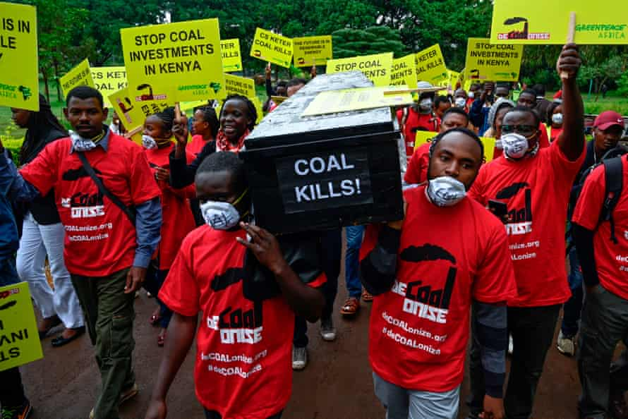 Greenpeace and environmental activists demonstrate in Nairobi against the construction of a coal power plant in Lamu on Kenya's coast in 2019.