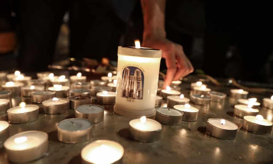 Candles outside the Notre-Dame Basilica