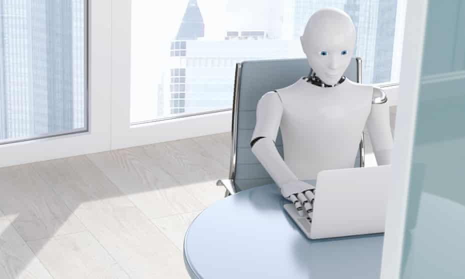 Robot on laptop, 3D Rendering