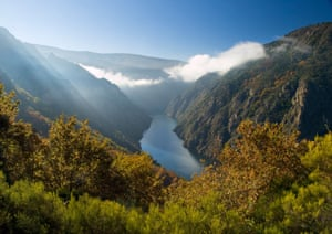 Sil river canyon in Orense, Spain. Beautiful nature place located in Galicia, Spain.