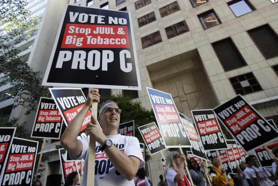 Protesters in San Francisco call for the city-wide ban on vape sales to be upheld.