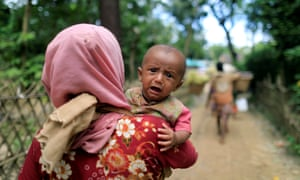 Rohingya refugees, who crossed the border from Myanmar