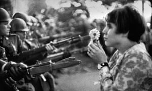Marc Riboud's image of a young US girl, Jan Rose Kasmir, outside the Pentagon during an anti-Vietnam march, 1967.